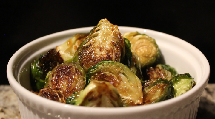 Low sodium balsamic honey roasted sprouts dish